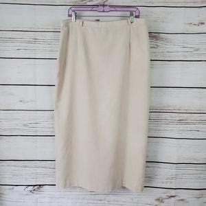Sag Harbor   Khaki Linen Blend Lined Maxi Skirt